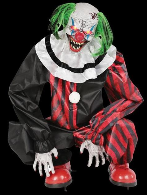 """""""Crouching Clown Red"""" Electric Animated Skeleton Halloween"""
