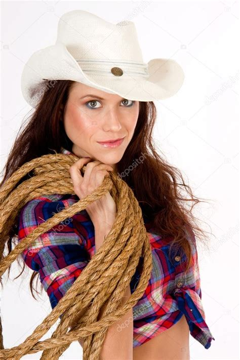 Beautiful Hero Cowgirl Carrying Her Rope and Gear Country